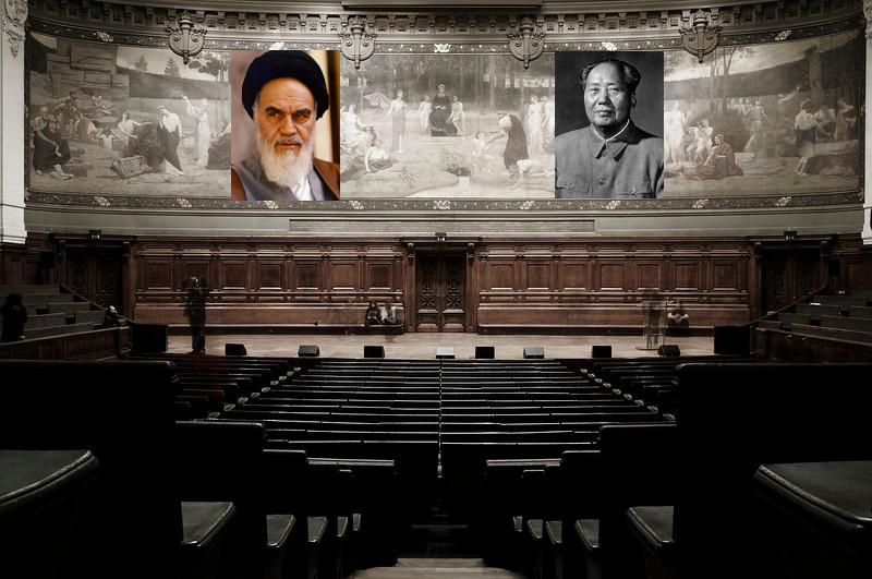 Photomontage montrant l'intérieur de la Sorbonne avec les portrait de Mao et Khomeini rajoutés